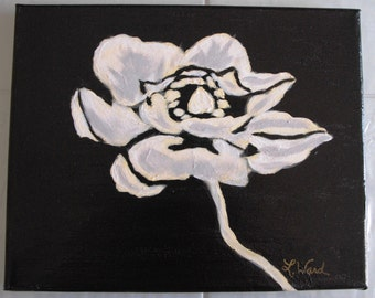 "Original, signed, Simple white flower on 8""x10"" Black Canvas"