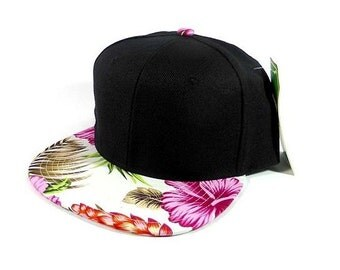 Pink Hawaii Custom Embroidery Flatbill Snapback Hibiscus Flowers