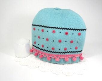 Pink aqua tea cozy Whimsical Shabby cottage decor Fabric teapot cover Summer garden tea party