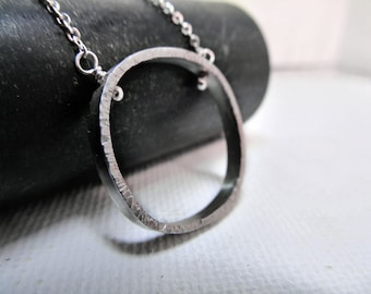 Open Square Silver Necklace, Sterling Silver, Textured Pendant