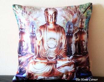 Buddha Throw Pillow, Buddha Satin Pillow Cover, Buddha, Decorative Cushion, Home Decor, Contemporary, 16x16 pillow, Unique Pillow- BUDDHA