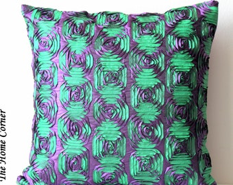 Purple Green Throw Pillow, Decorative Throw Pillow, Accent Pillow, Purple Green, Purple Cushion Cover, 16x16 throw pillows, Handmade Pillow