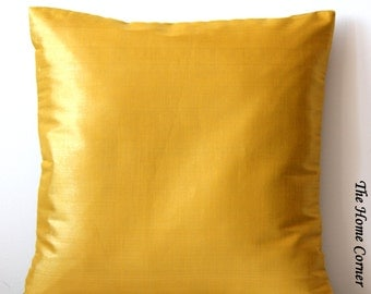Gold Pillow Cover Solid Pillow Gold Silk Pillow Gold Cushion Cover Gold Throw Pillow Decorative Pillow Accent Pillow 16x16 pillow Bed Pillow