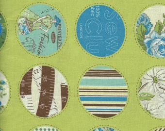 Circle Print in Green  by Suzuko Koseki for  Yuwa of Japan
