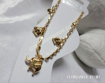 Three Elephant Charms Anklet, diamond anklet, cheap anklet