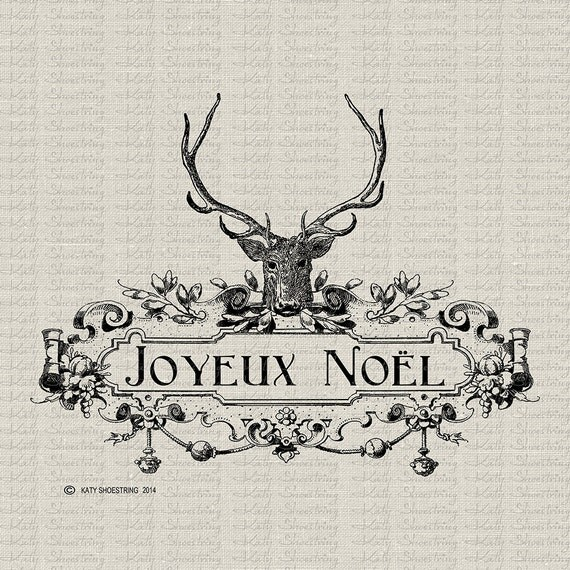 Printable French Deer Antler Joyeux Noel Merry Christmas