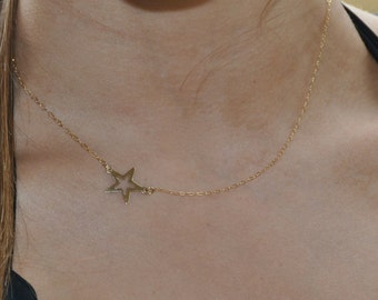 Star Necklace, gold star necklace, silver star necklace, superstar necklace, minimalist necklace, everyday necklace, gold silver necklace