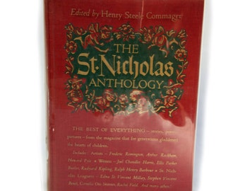 1948 Printing St Nicholas Anthology Illustrated Christmas Hardcover Book Collectible Literature Poems Stories Pictures
