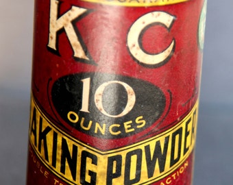 Antique KC BAKING POWDER 10 Ounces Unopened Tin Jaques Mfg Co Chicago Gold Metal Highest Award 1896