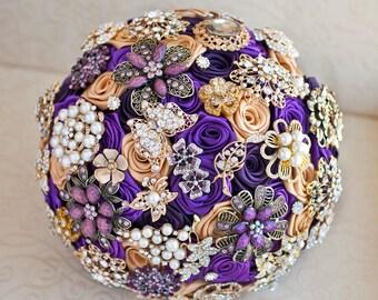Purple brooch bouquet. Purple and Gold wedding brooch bouquet. Jeweled bouquet.