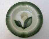Syracuse China Individual Ash Tray - Restaurant Ware Airbrushed Forest Green Floral - 1940s
