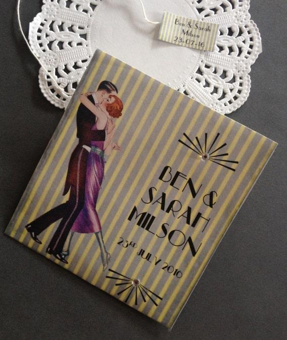 "1920s GREAT GATSBY Art Deco ""Gold"" Tea Bag Wedding or High Tea Favor Personalized - Including Tea Bag"