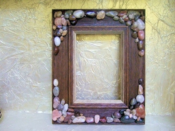rustic wood 5 x 7 picture frame stone frame wall by artonceagain. Black Bedroom Furniture Sets. Home Design Ideas