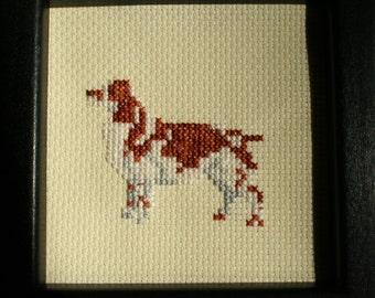 Welsh Springer Spaniel Cross Stitched Full Body Dog.