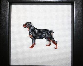 Rottweiler Cross Stitched Full Body Dog.