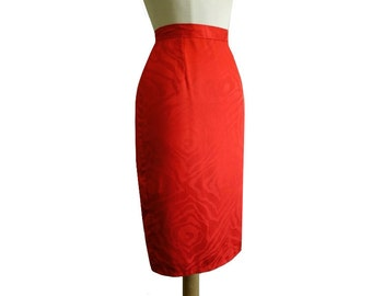 80's Red Moire Pencil Skirt