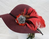 Scarlet Feather Fascinator- Hat Pin- Hair Clip- Festival Apparel- Headdress- Burlesque- Belly Dancer Accessory