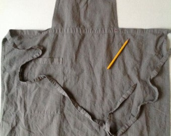 """Beautiful slate grey antique linen apron with vintage mother of pearl button and little """"red"""" number"""