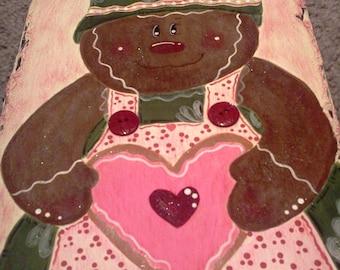 Gingerbread Girl Miss Pinky Baking Cookies Hand painted Slate