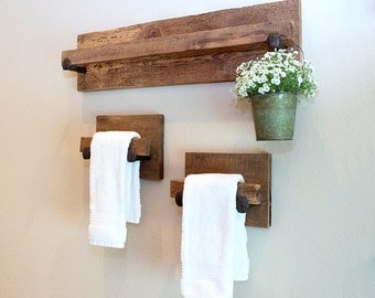 Hand Towel Holder, rustic towel rack with industrial railroad spike accents