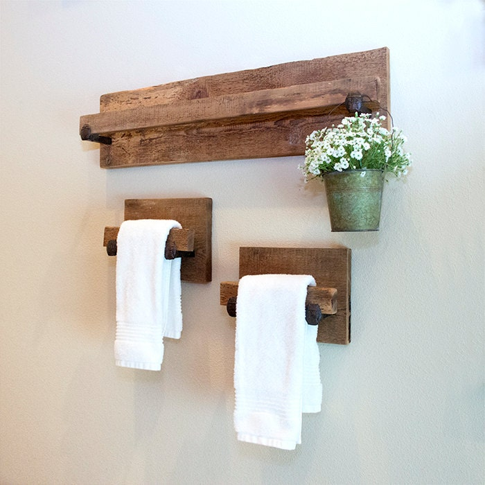 Hand Towel Holder Rustic Towel Rack With Industrial Railroad