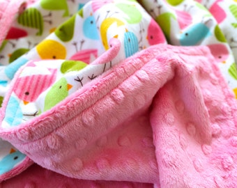 On Sale!**Urban Zoologie Birds and Minky Baby Blanket-Choose Your Own Minky-Double Sided Minky-Baby Girl-Baby