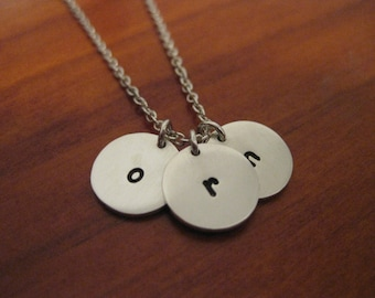 Three Tiny Hand Stamped Disk Necklace - Sterling Silver.