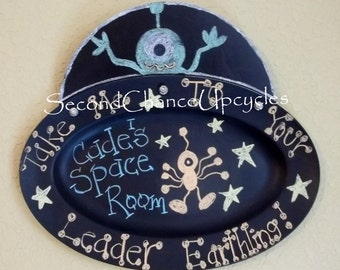 Spaceship Chalkboard Outer Space Decor Alien Room Decor Outer Space Decor Chalkboard Wall Hanging Upcycled
