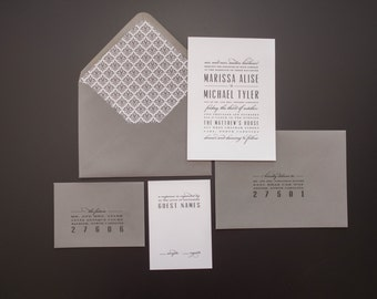 Grey Wedding Invitation, Modern Wedding Invitation, Elegant Wedding Invitation, Classic Wedding Invitation, Modern Wedding Invitation