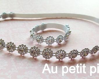 Baby Headband and bracelet set, bridal, flower girl, girl gift, baby shower gift, photo prop, baptism , christening gift, baby girl