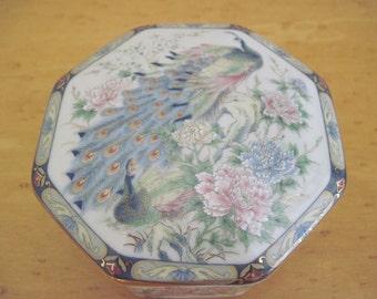 Japanese Kutani Crane / Peacock Trinket Pot/Dish and Lid  from The Leonardo Collection