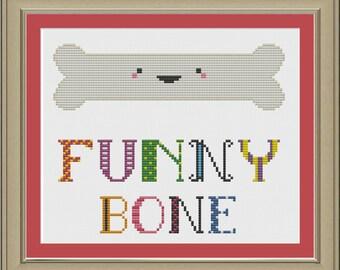 Funny bone: cute cross-stitch pattern