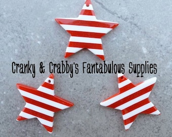 35mm x 35mm Striped Star Pendant -  Chunky Necklaces - Red and White