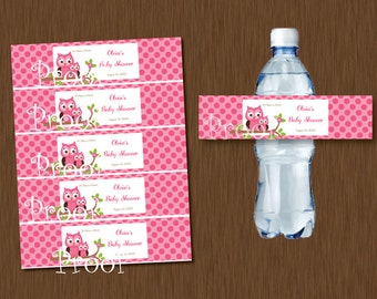 Pink Owl Water Bottle Labels Printable Baby Shower Birthday Party Favor Personalized