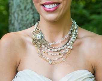 Pearl Statement Necklace-Vintage Necklace-Bib Necklace-Wedding Jewelry-Bridal Necklace-Rhinestone Brooch-Pearl Necklace-Dream Day Designs