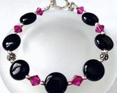Black Onyx Bead Bracelet, Beaded Jewelry, Pink Swarovski Crystal Bead Bracelet, Onyx Jewelry, Gift For Her, Womens Bracelet