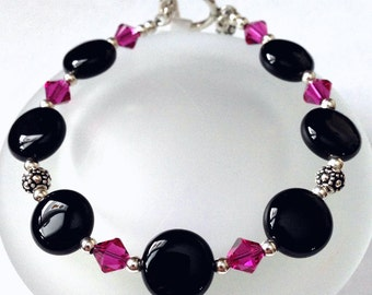 Black Onyx Bead Bracelet, Beaded Jewelry, Pink Swarovski Crystal Bead Bracelet, Onyx Jewelry, Gift For Her, Womens Bracelet