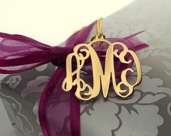 Initial Monogram Necklace 18K Gold Silver Plated