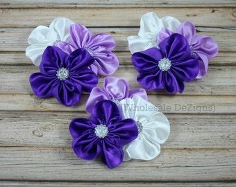 "Purple Satin Cluster Flowers - Purple, Lavender & White - 3"""