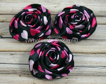 "Valentines Heart Satin Rolled Rosette Flowers - 2"" - Set of 3 - Hot Pink, Pink, & Light Pink with Black"