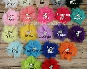 """5 Tulle Flowers with Pearl and Rhinestone Center - 2.5"""" - YOU Pick Any 5 - Pink, White, Yellow, Royal Blue"""