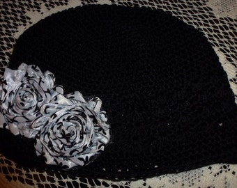 Chemo Black Crochet Hat with Black and White Damask Shabby Chic type Flower, Black Chemo Hat with Polka Dot flower