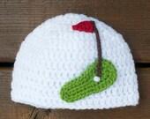 BABY GOLF BEANIE Crocheted Hat Girls or Boys Photo Prop, Baby Golf Hat, Baby Knit Golf Hat, Golf Baby Crochet, Newborn Golf Hat, Infant Golf