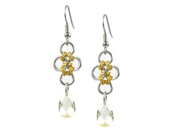 Gold Diamond Chain Mail Earrings