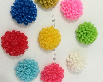 15pcs 21mm  Mixed color resin flower