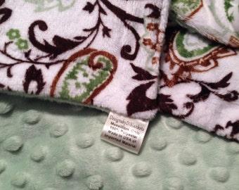 Minky Baby Blanket, Paisley Blanket,Sage Baby Bedding, Newborn Infant Blanket,  Car Seat or Stroller Size   29 x 36
