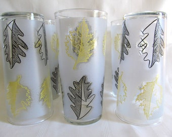 Vintage Set of Six Libbey Glasses Frosted Yellow Black Leaf Pattern