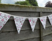 Pink Star Bunting, 7 Flag Pink And White Bunting, White Bunting With Pink Stars, Cotton Bunting,
