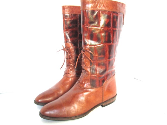 joan david brown leather boots reptile animal