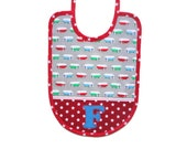 Bib with volkswagen busses and stars, customised with first letter name